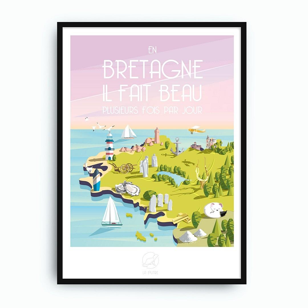 """Deco De Table Bretonne affiche bretagne """"en bretagne, il fait beau plusieurs fois par jour"""""""